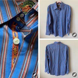 Robert Graham Blue striped button-down shirt 4957